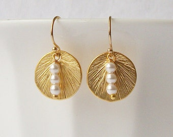 White Pearl Gold Circle Earrings, Modern and Minimal Jewelry