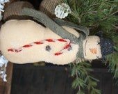 SALE Primitive Snowman Charlie Folk Art Holiday