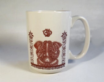 Ganesha the Elephant God OM Cup White and Sepia Ceramic Coffee Tea Mug