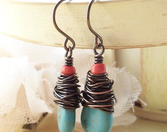 Clearance Sale Wire Wrapped Earrings Jewelry Handmade Dangle Earrings Boho Jewelry Earrings Zen Jewelry Artisan Jewelry Wire Wrapped Earring