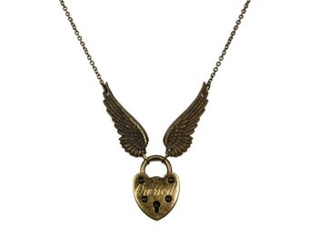 Angel Wing Necklace, Padlock and Key, Engraved Padlock Necklace, Couples Jewelry, Skeleton Key Necklace, Gold Tone Necklace, BDSM Jewelry