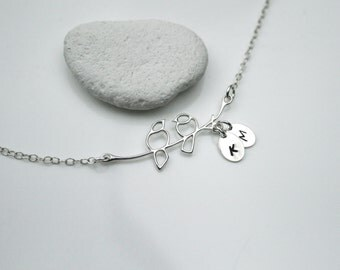 Personalized Love Birds on a Branch Necklace in Sterling Silver - Lovebird Necklace