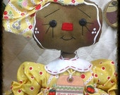 "Primitive Raggedy Gingerbread Doll ""SWEET CHERRIES""~Ginger Creek Crossing"