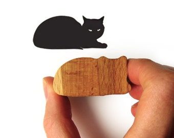 Cat Stamp Rubber with Wooden Handle Prints Sphinx Cat
