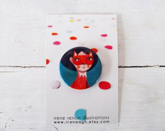 Fox pin, orange & green animal button brooch