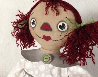 Handmade Primitive Annie Doll with Elephant