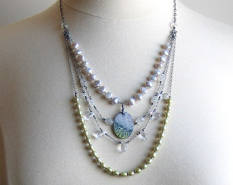 Multi strand Gemstone & Pearl Necklace, Enameled Art Pendant, Statement Bib Necklace, Concept Jewelry Nature Inspired, Original Wearable Art