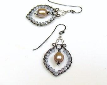 Beaded Drop Hoops with Gray Pearls, Boho Style Dangle Earrings, Artisan made Hippie Earrings, Original Handmade Design, WillOaks Studio