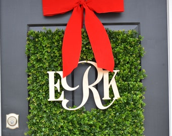 Boxwood Wood Monogram Christmas Wreath- Holiday Wreaths- Monogram Wreath- Holiday Decor- Christmas Decor- Christmas Decoration