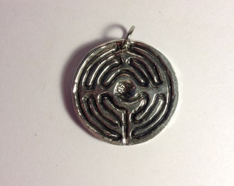 CLOSE-OUT: Birth Labyrinth Pendant Womb Labyrinth Necklace (pewter, doulas, midwives, mother blessing gift)