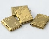 Vintage Style Raw Brass Book Etched Tooled Rectangle Lockets 22mm (4)