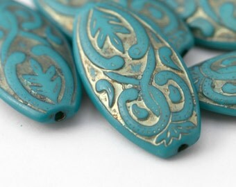 Turquoise Gold Etched Acrylic Oval Beads 39mm (4)