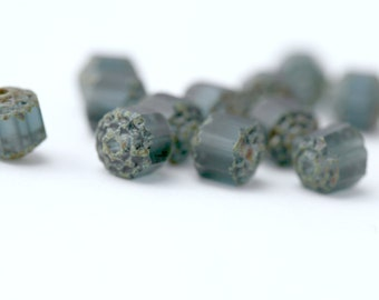 Czech Glass Cathedral Beads Montana Blue Matte 8mm (12)