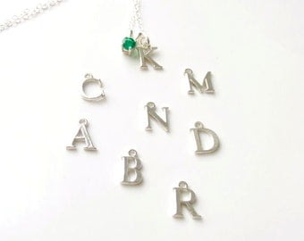 Personalized Letter Gem Necklace Sterling Silver Birthstone 4mm Made To Order