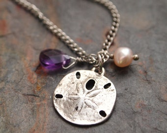 Pearl and Amethyst Sand Dollar Necklace