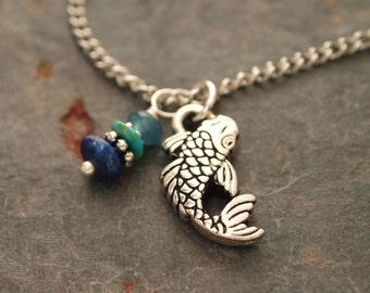 Gemstone and Coy Fish Necklace