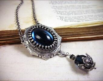 Dark Blue Necklace, Renaissance Jewelry, Tudor Costume, Medieval Wedding, Ren Faire, Renaissance Necklace, MedCol