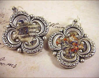 Medieval Earrings, Illuminated Manuscript, Renaissance Earrings, Renaissance Jewelry, Tudor Costume, Elizabethan, SCA, Choose Your Finish