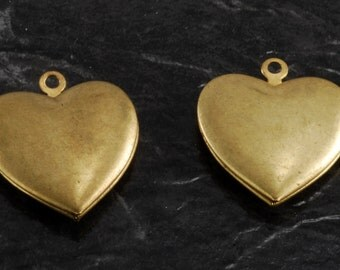 Vintage Heart Locket Pair Brass Metal Pendants 22mm Jewelry Making