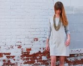 Long Sleeve Sweater Dress. Long Tunic Dress with Pockets. Lightweight Sweater Knit in Light Heather Gray. Spring Fashion Simple Shift Dress