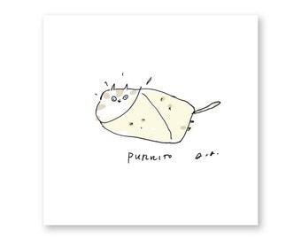 Purrito - Cat Print - Funny Cat Art