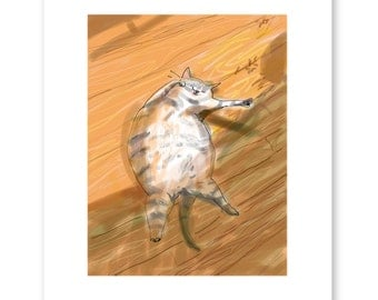Floor Cat- Sun Time- Cat Illustration- Sunning- Cat Art