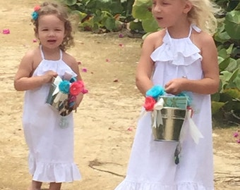Adorable Ruffled Halter Style Sundress *WHITE * LEMON Yellow * POPPY Pink * Lavender * Lime * Turquoise * Girls and Toddlers Sizes