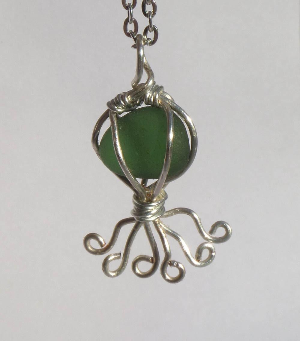jellyfish necklace sea glass necklace jellyfish