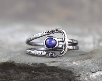 Star Sapphire Ring - Sterling Silver Ring - September Birthstone - Blue Gemstone Ring - Statement Ring - Rustic Unique Engagement Ring