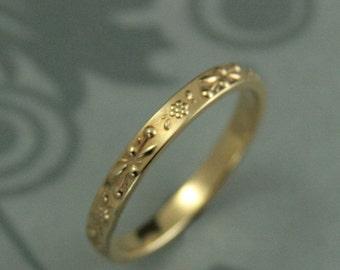 womens gold wedding band womens floral wedding band floral patterned band - Flower Wedding Ring