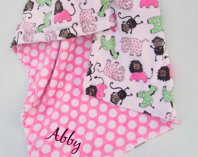 Pink Mod Dot and Jungle Print Minky Baby Blanket