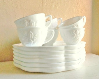 Set of 6 Matching Milk Glass Grapevine Plates Dishes and Cups