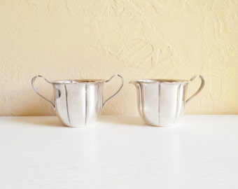 Vintage Silver WM Rogers Cream and Sugar Cups Serving Tea Coffee