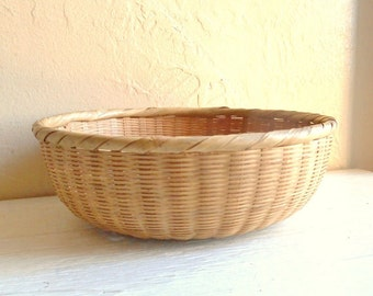 Vintage Woven Basket Bowl Natural Great Condition Fruit Bowl