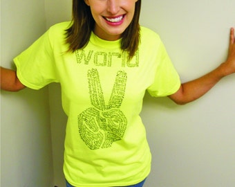 Peace shirt - World Peace t-shirt / NEON peace sign / typography, womens graphic tee / mens t-shirt / cool t-shirt / safety green