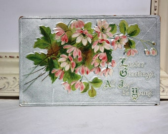 Vintage Easter Postcard Embossed silver foil with pink flowers and green leaves Raphael Tuck & Sons