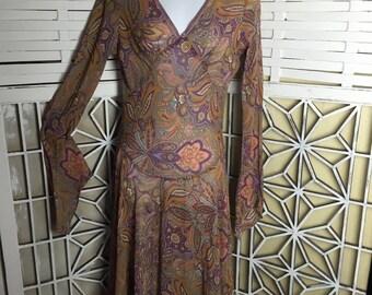 CLEARANCE - 1980's Floral Dress - boho dress - paisley dress - 80s vintage - chiffon dress - Stevie Nicks - gypsy dress - bias cut dress