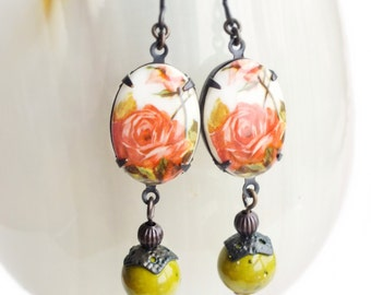 Rose Cameo Earrings Vintage Floral Earrings Coral Peach Olive Green Victorian Rose Jewelry Pink Green Earrings