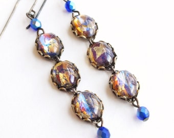 Topaz Opal Earrings Vintage Iridescent Amber Earrings Opal Jewelry Dangle Earrings