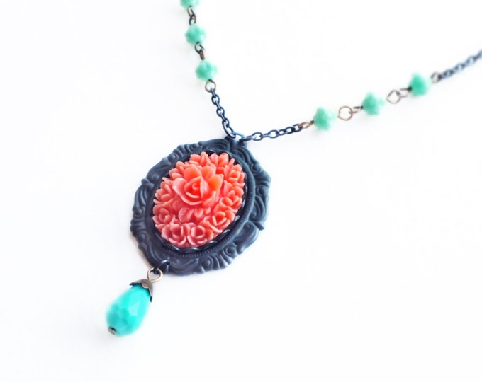 Pink Rose Cameo Necklace Vintage Flower Pendant Victorian Rose Coral Turquoise Victorian Floral Jewelry Rose Jewellery
