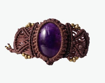 Amethyst Macrame Bracelet - Your Stone for Protection- ethereal healing crystal band