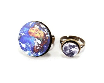 Earth & Moon Ring Set, Adjustable, Science, Solar System Jewelry