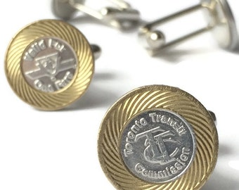 TTC token cuff links, TO gifts, YYZ gifts, Toronto gift, Toronto transit tokens, fathers day gift, hipster gift,