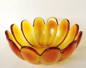 Vintage Indiana Glass Lotus Flower Petal Salad Serving Bowl, Amber Room Decor