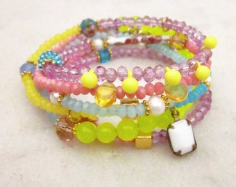 Multi wrap beaded bracelet or necklace, neon pastel bracelet, multi wrap bracelet, bead charm bracelet, long necklace