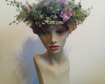 Head wreath wedding bridal fairy renaissance pansy purple green OOAK hand made
