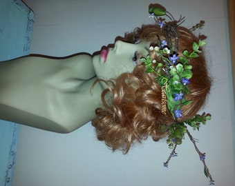 Vine Head wreath natural twig greens purple violet flowers wedding bridal fairy woodland pixie elf OOAK