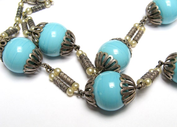 Vintage CZECH Glass Bead NECKLACE Turquoise Blue Swirl Silver Caps Stamped Filigree Pearl 1920s 1930s Art Lampwork Art Deco Neiger Era