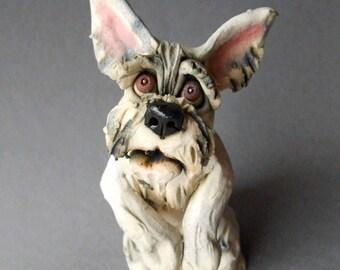 White Schnauzer or Terrier Dog Ceramic Sculpture