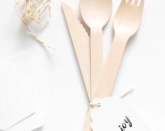 Plain Wooden Utensils - With Tags - 20 Forks, Spoons Or Knives